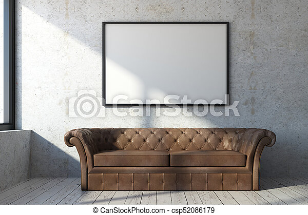 Living Room With Sofa And Banner