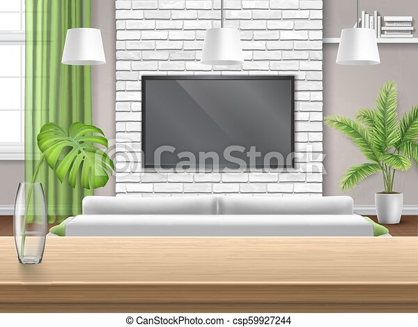 Living Room With Sofa Tv And Wooden Bar Table View On Living Room With Sofa And Tv Through The Wooden Bar Table Bright Canstock