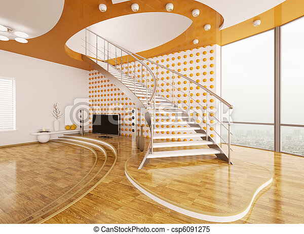 Living room with staircase interior design 3d render - csp6091275