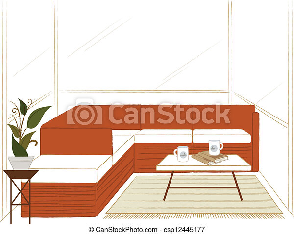 Living room with table - csp12445177