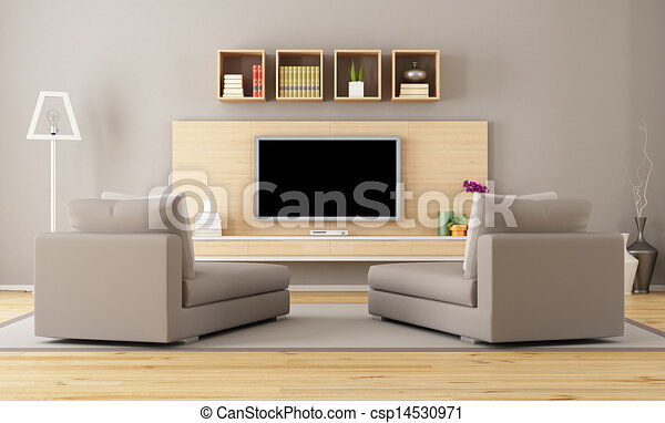 Living Room With Tv Cntemporary Living Room With Tv Rendering Canstock