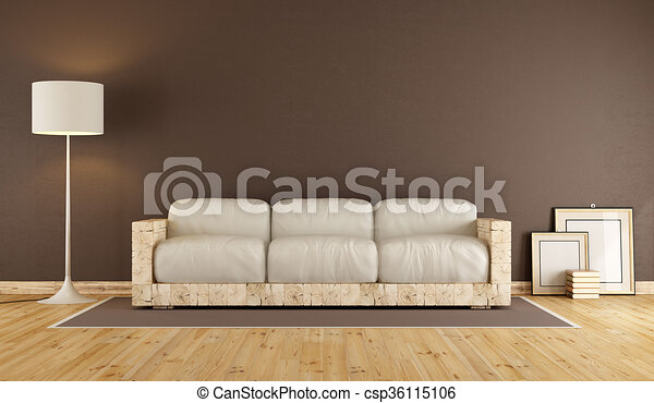Living Room With Wooden Sofa Brown Living Room With Old Wooden Sofa