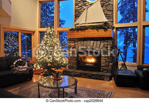 livingroom, hiver - csp2028844