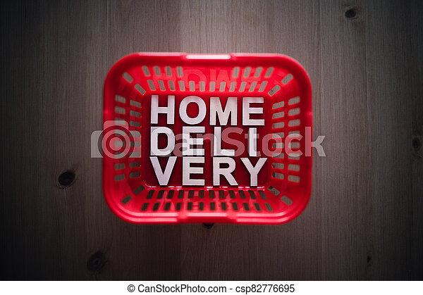 livraison, épicerie commerciale ligne, maison, panier, il, texte, achats - csp82776695