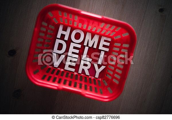 livraison, épicerie commerciale ligne, maison, panier, il, texte, achats - csp82776696