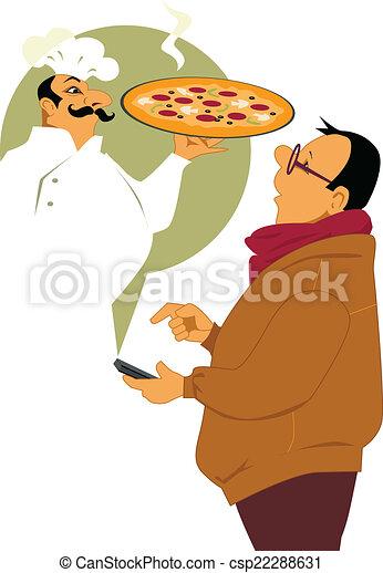 livraison, appeler, pizza - csp22288631