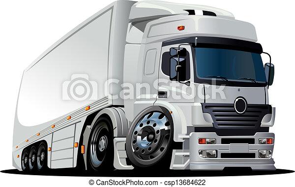 livraison, camion cargaison, dessin animé, / - csp13684622