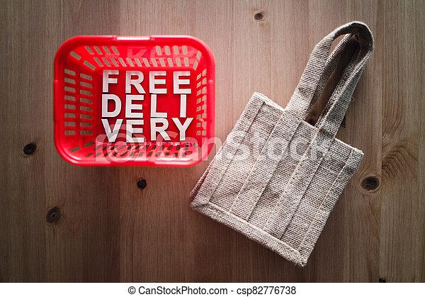 livraison, concept, achats, faire courses ligne, gratuite, panier, il, texte - csp82776738