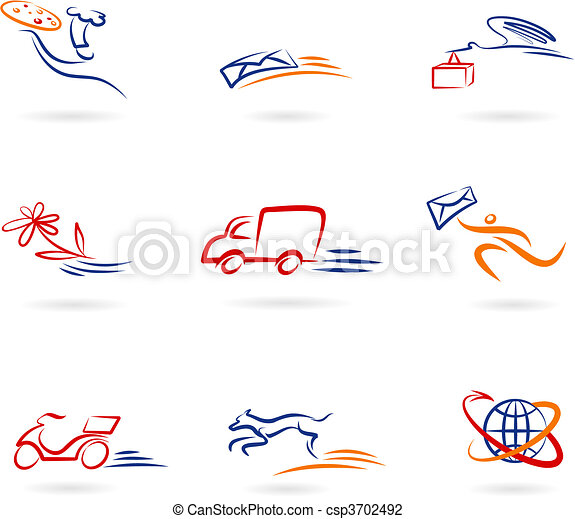 livraison, logos, icônes - csp3702492