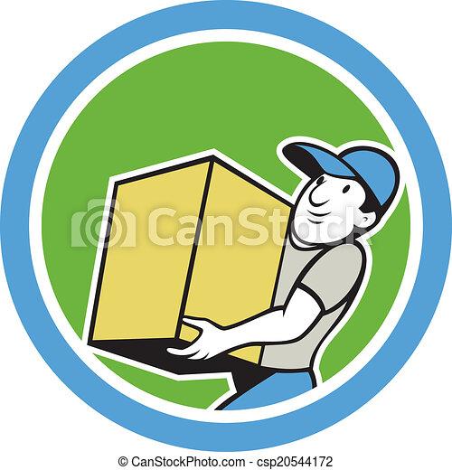 livraison, porter, ouvrier, dessin animé, paquet - csp20544172