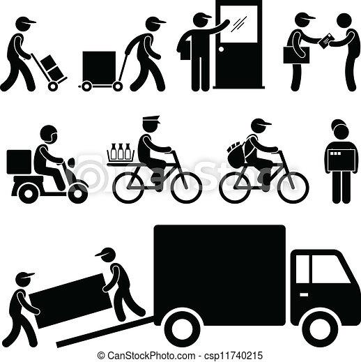 livraison, poste, facteur, courrier, homme - csp11740215