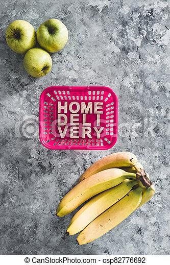 livraison, suivant, épicerie commerciale ligne, fruit, maison, panier, il, texte, achats - csp82776692