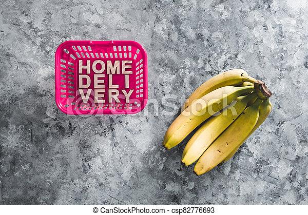 livraison, suivant, épicerie commerciale ligne, fruit, maison, panier, il, texte, achats - csp82776693