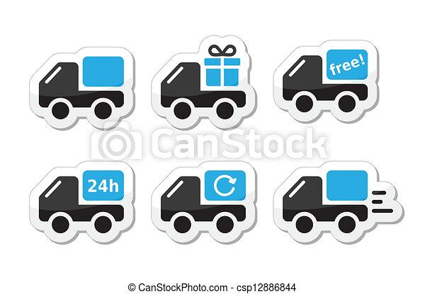 livraison, vecteur, voiture, expédition, icônes - csp12886844