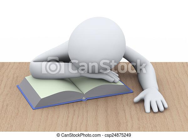 Livre 3d Etudiant Dormir