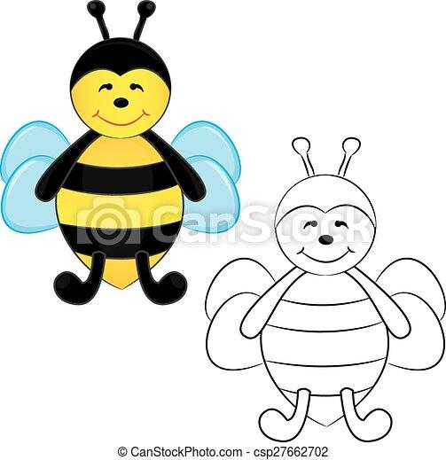 livre, bee., mignon, coloration, dessin animé - csp27662702