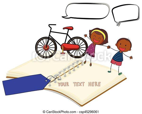 livre blanc, enfants, tenant main - csp45296061