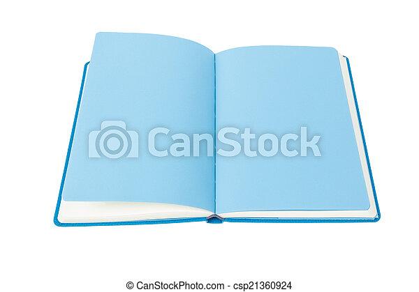 Livre Bleu Fond Blanc Ouvert Page