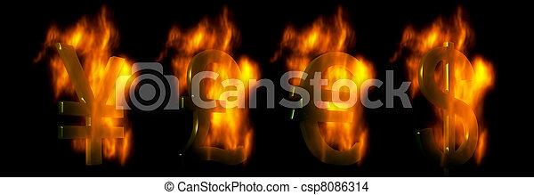 livre, brûlé, yen, symboles, dollar, euro - csp8086314