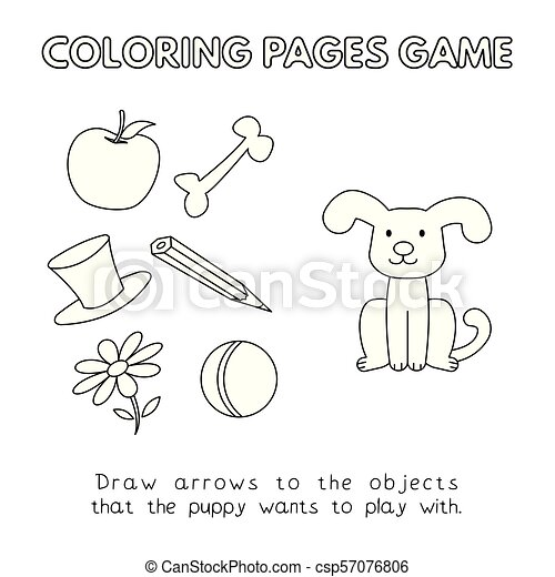 livre coloration, dessin animé, chien - csp57076806