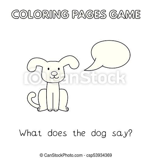 livre coloration, dessin animé, chien - csp53934369