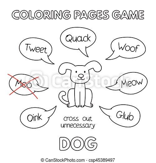 livre coloration, dessin animé, chien - csp45389497