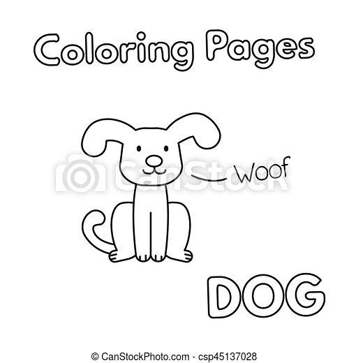 livre coloration, dessin animé, chien - csp45137028