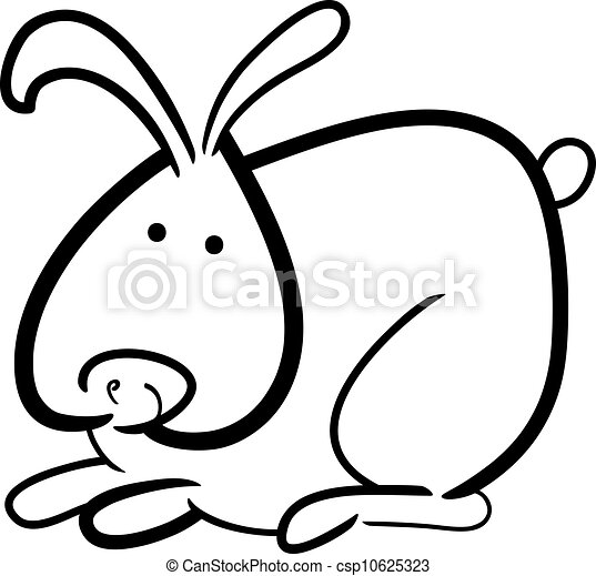 livre coloration, dessin animé, lapin - csp10625323