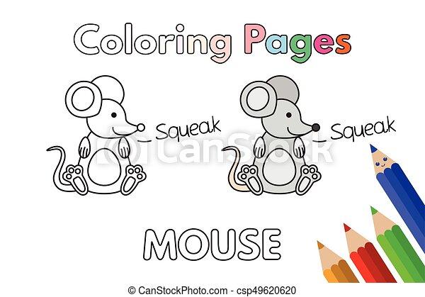 livre coloration, souris, dessin animé - csp49620620