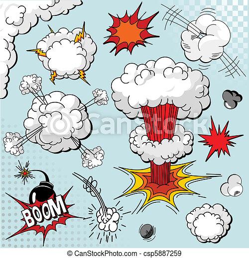 livre comique, explosion, éléments - csp5887259
