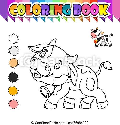 livre, dessin animé, coloration, vache, mignon - csp76984999