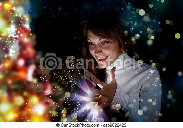 livre, femme, magie, jeune, lecture - csp9022423