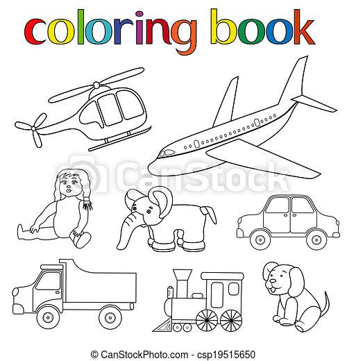 livre, jouets, divers, ensemble, coloration - csp19515650