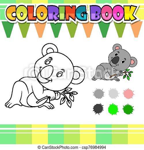 livre, koala, dessin animé, coloration, mignon - csp76984994