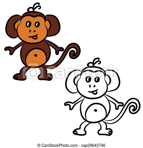 livre, mignon, coloration, dessin animé, monkey. - csp29643746