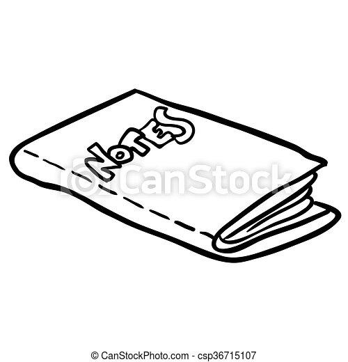 Livre Note Noir Freehand Dessine Blanc Dessin Anime