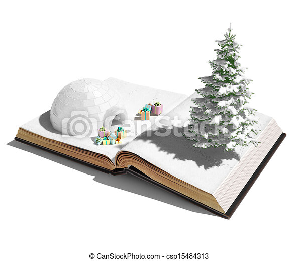 Livre Ouvert Igloo Concept Book Dons Igloo Ouvert Noel 3d