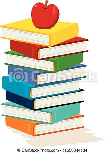 livre, pomme, pile - csp50844134