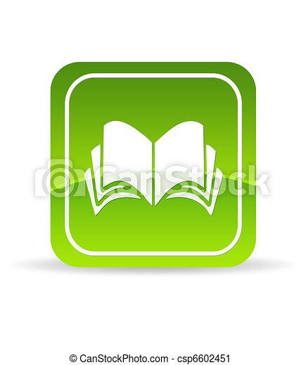 livre, vert, icône - csp6602451