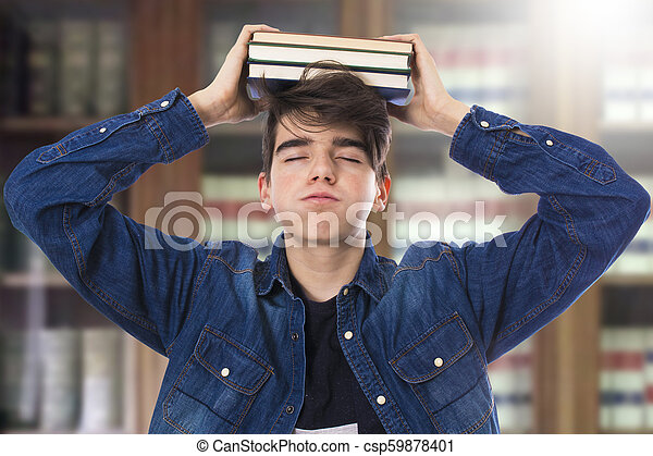 livres, étudiant, bibliothèque - csp59878401