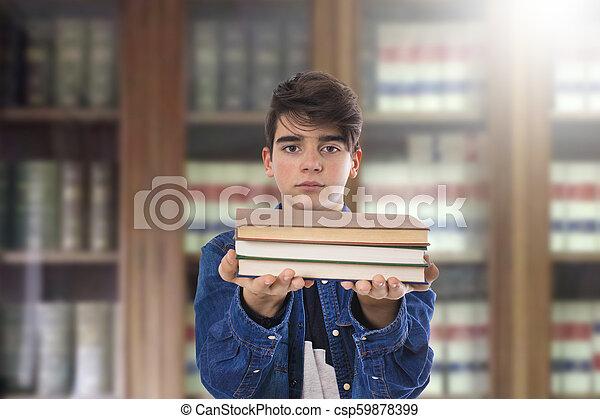 livres, étudiant, bibliothèque - csp59878399