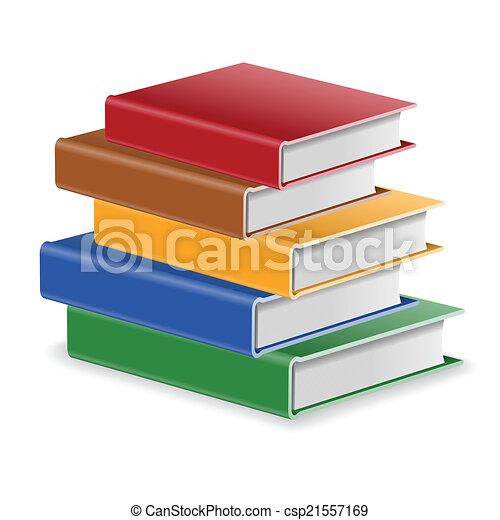 Livres Pile Ecole Concept Colore Livres Dos Isole