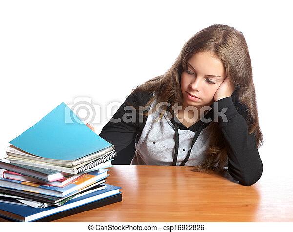 livres, tas, regarde, girl-teenager - csp16922826