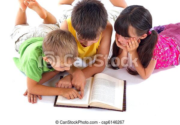 livro, leitura, crianças - csp6146267