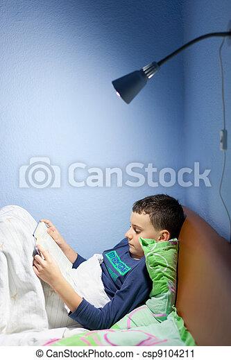livro leitura, hora dormir, criança - csp9104211