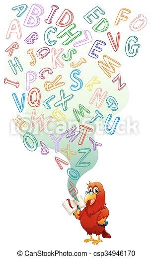 livro leitura, papagaio, inglês - csp34946170
