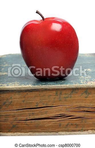 livro, maçã, vermelho, & - csp8000700