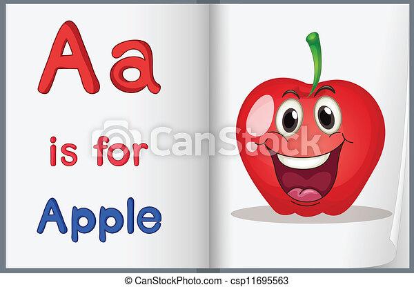 livro, maçã - csp11695563