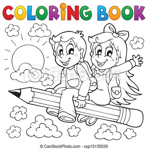 livro, tema, coloração, 3, pupila - csp15135030