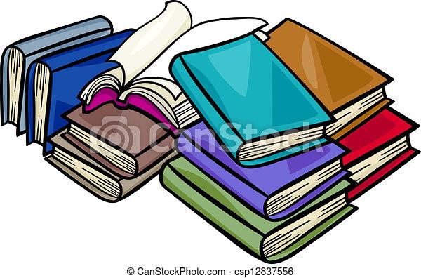 livros, montão, caricatura, ilustração - csp12837556